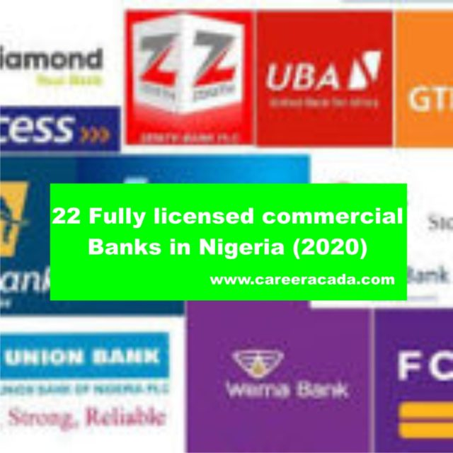 22 Fully licensed commercial Banks in Nigeria (2020)